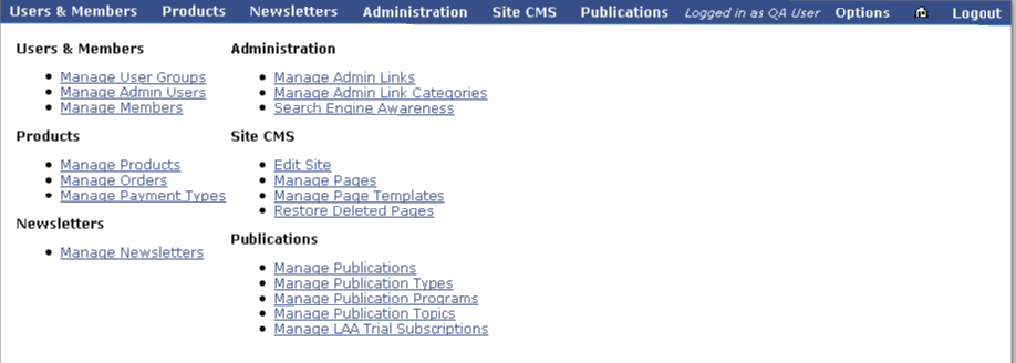 Lighthouse CMS site admin screen