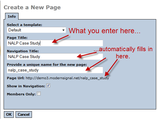 Create a new page dialog