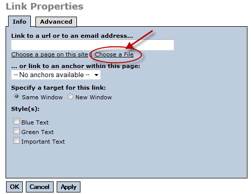 Link properties dialog box