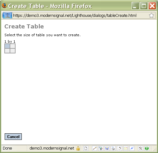 Create table dialog box