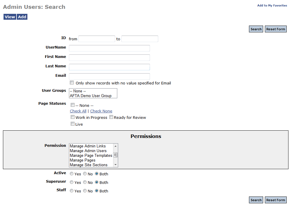 Admin tool search screen