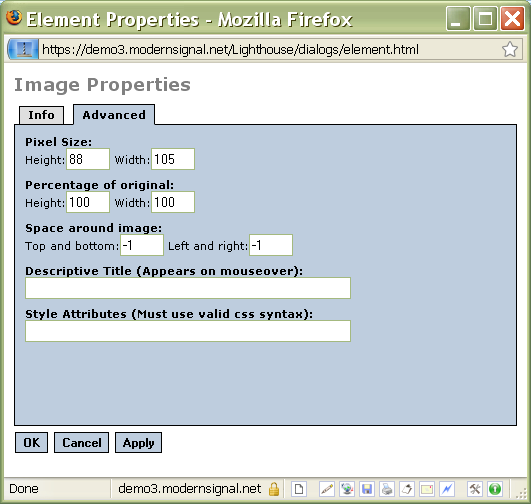 Image properties advanced tab
