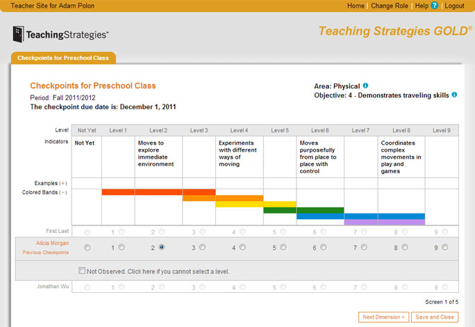 Teachingstrategies.com - Checkpoint Entry example for Assessment, Testing and Reporting Systems