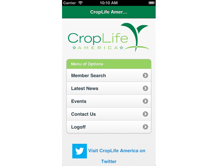 CropLife America Mobile App index screen