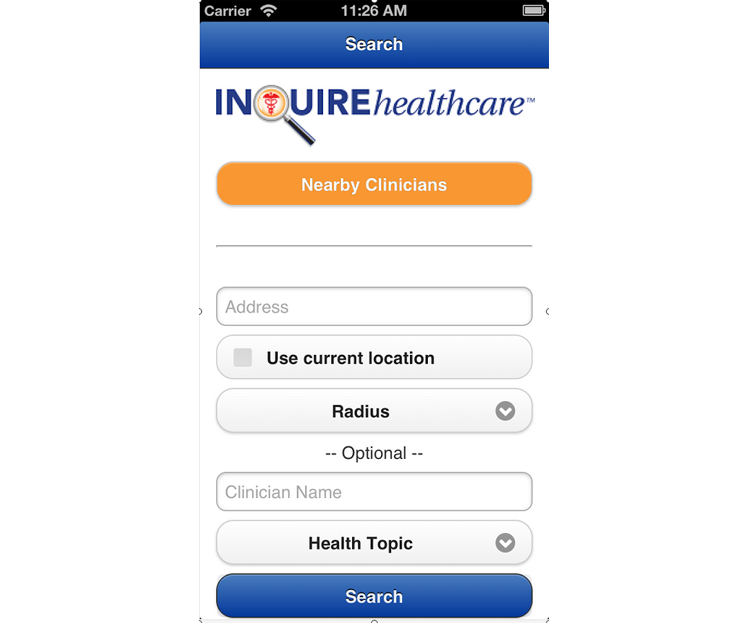 INQUIREhealthcare Mobile App: Search for doctors, nurses and hospitals that are recognized national
