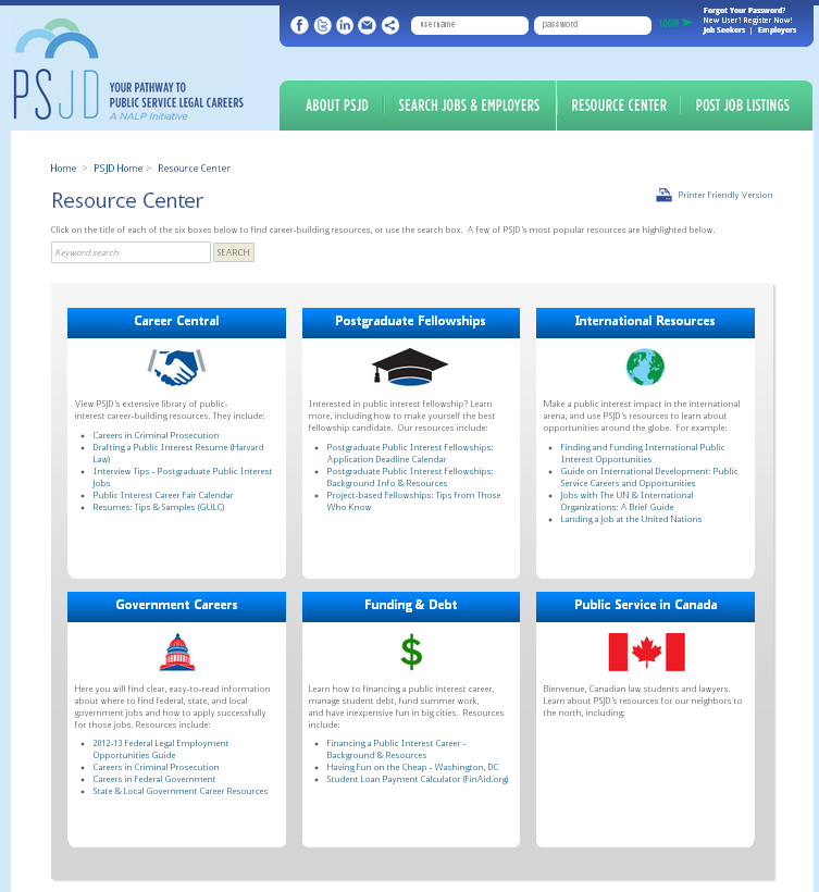 A vast resource center helps job seekers and employers get their questions answered.