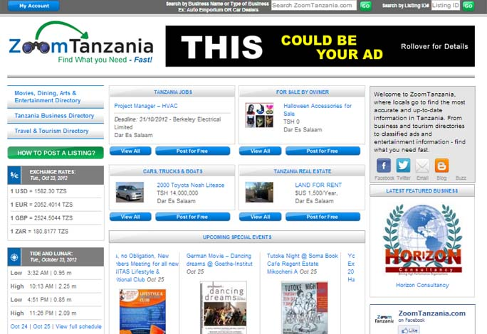 Zoom Tanzania Online Classified Ad Directory