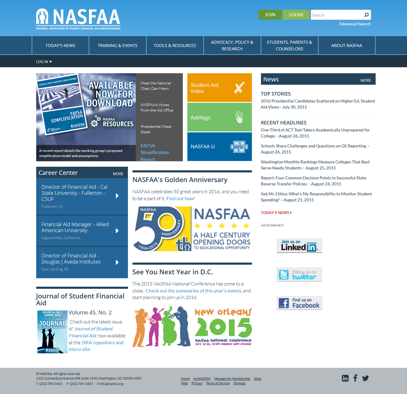 National Association of Student Financial Aid Administrators Screenshot