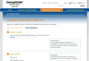 Standards correlation search offers a number of search criteria and tips to users.